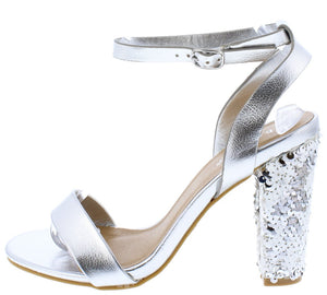 4aaea4b7e Frenzy50s Silver Open Toe Ankle Strap Sequin Angled Heel - Wholesale  Fashion Shoes