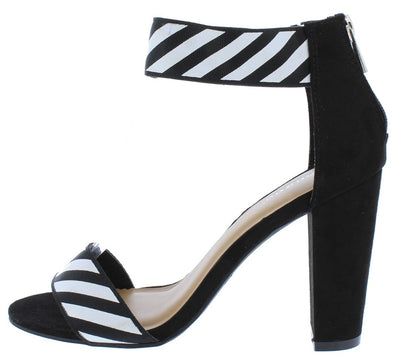 Frenzy64s Black Suede Striped Open Toe Ankle Band Heel - Wholesale Fashion Shoes