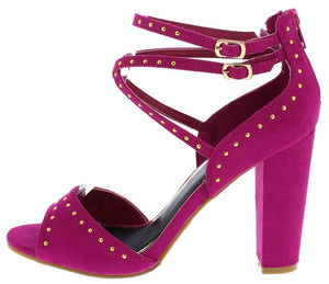 c1eddb5a571 Frenzy73s Raspberry Studded Peep Toe Cross Strap Heel - Wholesale Fashion  Shoes