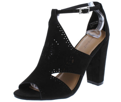 Frenzy76m Black Peep Toe Cut Out Laser Cut Slanted Heel - Wholesale Fashion Shoes