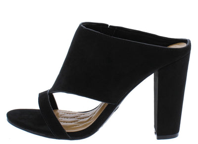 Frenzy97m Black Cut Out Open Toe Mule Heel - Wholesale Fashion Shoes