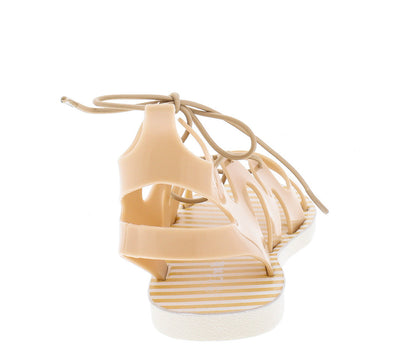 Fresh58k Nude Caged Lace Up Kids Jelly Sandal - Wholesale Fashion Shoes