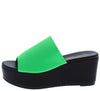 Frikka1 Neon Green Open Toe Platform Mule Wedge - Wholesale Fashion Shoes