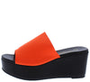 Frikka1 Neon Orange Open Toe Platform Mule Wedge - Wholesale Fashion Shoes