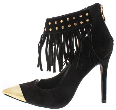 Fringepower Black Fringe Gold Pointed Toe Heel - Wholesale Fashion Shoes