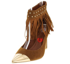 FRINGEPOWER CAMEL FRINGE GOLD POINTED TOE HEEL - Wholesale Fashion Shoes