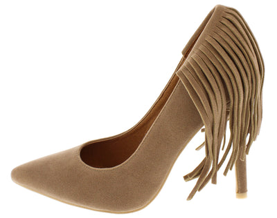 Fringetip Nude Fringe Pointed Toe Heel - Wholesale Fashion Shoes