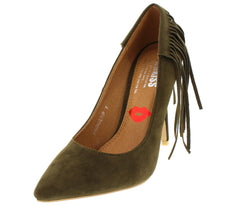 FRINGETIP OLIVE FRINGE POINTED TOE HEEL - Wholesale Fashion Shoes