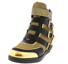 FRONT RUNNER04 GOLD PU GLITTER WEDGE SNEAKER WOMEN'S BOOT - Wholesale Fashion Shoes