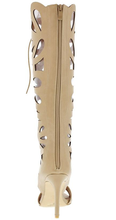 Frontier10 Beige Cut Out Lace Up Knee High Boot - Wholesale Fashion Shoes