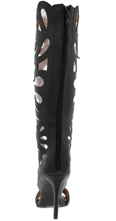 FRONTIER10 BLACK CUT OUT LACE UP KNEE HIGH BOOT - Wholesale Fashion Shoes