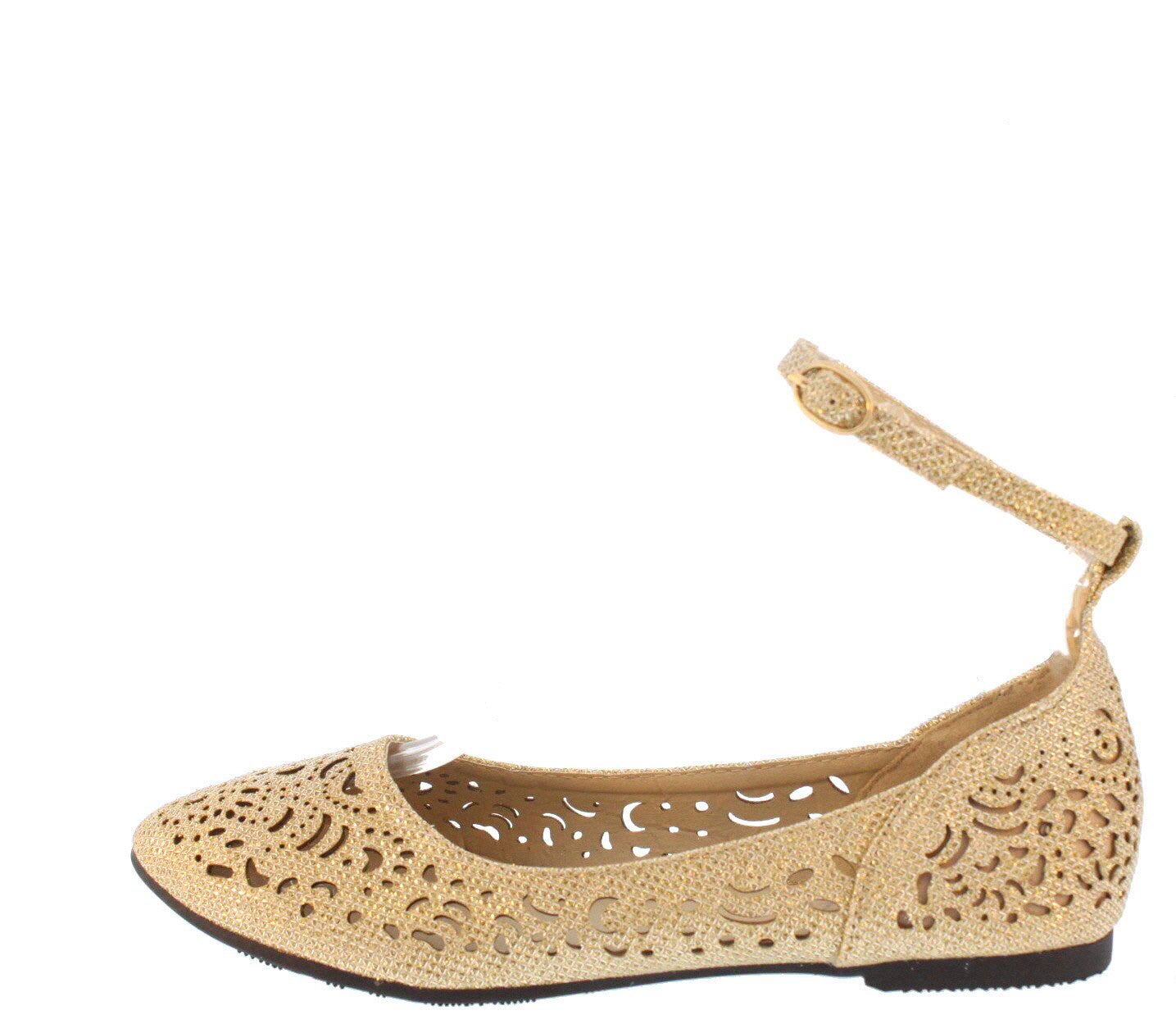 FT001 GOLD GLITTER CUT OUT ANKLE STRAP FLATS ONLY $10.88