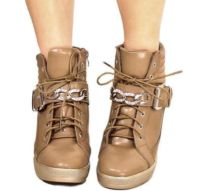 Rumble12 Taupe Hidden Wedge Accent Buckle Lace Up Boot - Wholesale Fashion Shoes