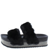 Furry502w Black Faux Fur Dual Strap Sparkle Slide Flat - Wholesale Fashion Shoes