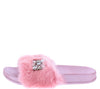 Cecilia258 Pink Jeweled Faux Fur Mule Slide Sandal - Wholesale Fashion Shoes