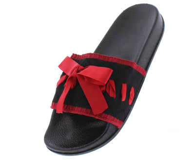 Della052 Black Stitch Tied Open Toe Mule Slide Sandal - Wholesale Fashion Shoes