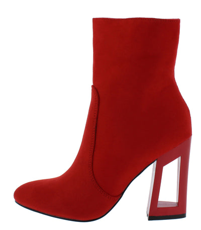 Gal3 Red Almond Toe Cut Out Block Heel Ankle Boot - Wholesale Fashion Shoes