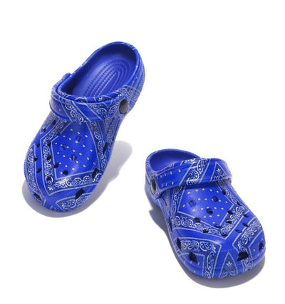 Gardendoll Blue Print Cut Out Round Toe Slide On Kids Sandal - Wholesale Fashion Shoes