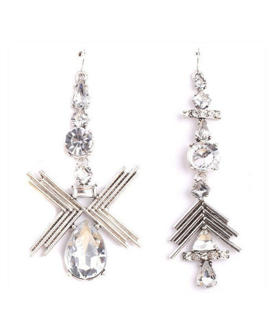 Geometric Drop Crystal Silver Statement Earrings - Wholesale Fashion Shoes