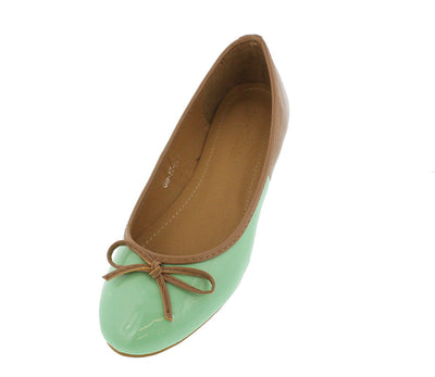 Giayt2 Green Patent Color Block Bow Flat - Wholesale Fashion Shoes