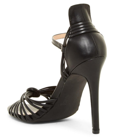 Kaylee280 Black Pu Strappy Peep Toe Ankle Strap Stiletto Heel - Wholesale Fashion Shoes