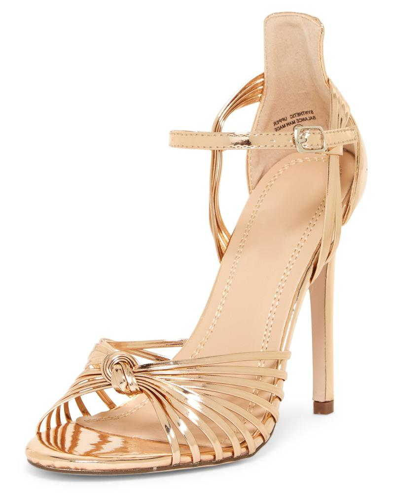 769464fdcd4 Kaylee280 Rose Gold Strappy Peep Toe Ankle Strap Stiletto Heel - Wholesale  Fashion Shoes