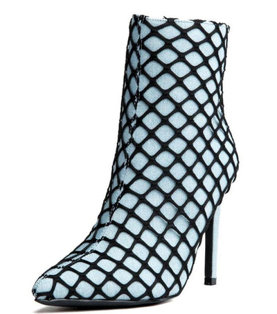 Gigi38 Denim Lined Fishnet Stiletto Ankle Boot - Wholesale Fashion Shoes