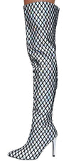Gigi51 Hologram Fishnet Covered Over The Knee Boot - Wholesale Fashion Shoes