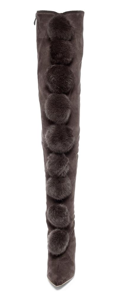 Gigi54 Black Large  Pom Pom Over The Knee Boot - Wholesale Fashion Shoes