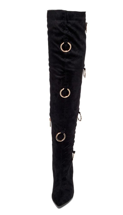 Gigi68 Black Ring Detail Over The Knee Stiletto Boot - Wholesale Fashion Shoes