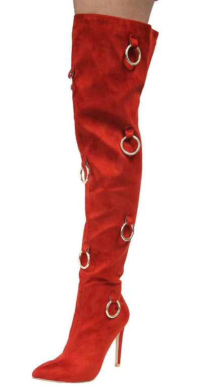Gigi68 Rust Ring Detail Over The Knee Stiletto Boot - Wholesale Fashion Shoes