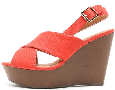 Gimmick30a Tangerine Reptile Embossed Crisscross Platform Wedge - Wholesale Fashion Shoes