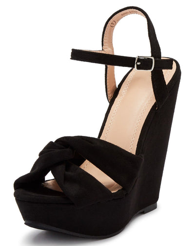 Kinsley115 Black Suede Knotted Open Toe Platform Wedge - Wholesale Fashion Shoes