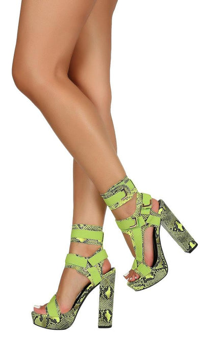 Destiny020 Green Snake Strappy Open Toe Block Heel - Wholesale Fashion Shoes