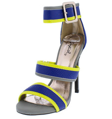 GLEE150 COBALT BLUE SNAKESKIN NEON OPEN TOE TRIPLE STRAP HEEL - Wholesale Fashion Shoes