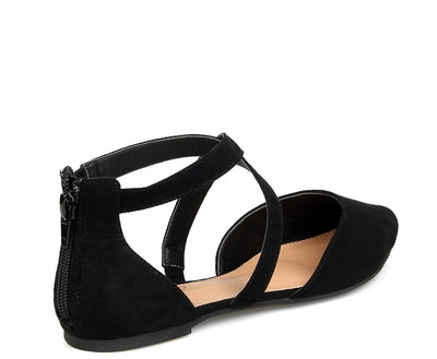 Glenn09 Black Suede Fabric Cross Strap Pointed Toe Dorsay Flat - Wholesale Fashion Shoes