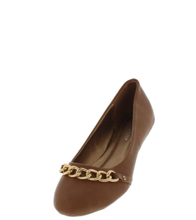 Gloria38 Tan Chain Toe Ballet Flat - Wholesale Fashion Shoes