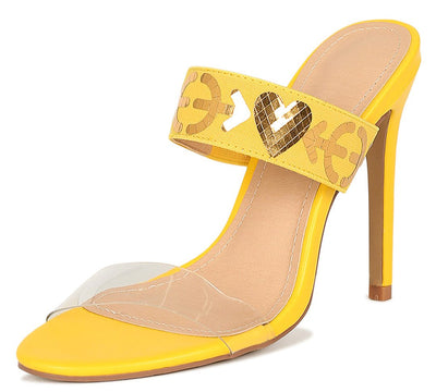Sarah288 Yellow Lucite Open Toe Heart Arrow Mule Heel - Wholesale Fashion Shoes