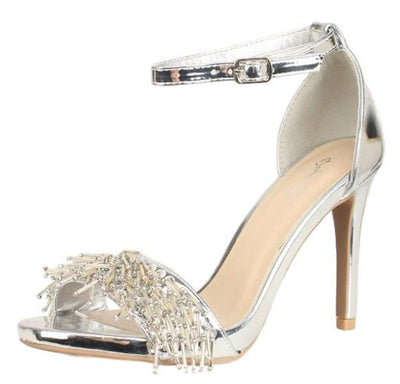 Grammy258 Silver Bead Fringe Open Toe Ankle Strap Heel - Wholesale Fashion Shoes