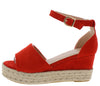 Grass203 Red Women's Wedge - Wholesale Fashion Shoes