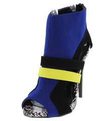 GREYSON24 ROYAL BLUE LYCRA MULTI COLOR DUAL STRAP CUT OUT SPLATTER PRINT SOLE HEEL - Wholesale Fashion Shoes - 2