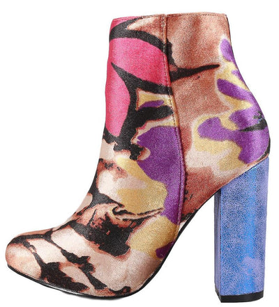 Guddy Blue Almond Toe Floral Print Ankle Boot - Wholesale Fashion Shoes