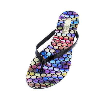 Gable06 Black Pat Colorful Geometric Print Thong Sandal - Wholesale Fashion Shoes