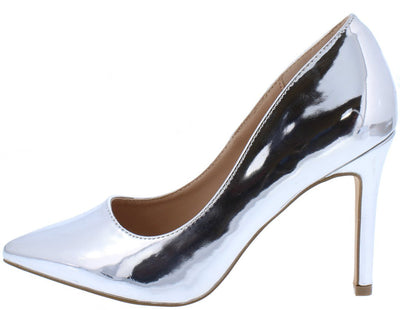 Gail01 Silver Pointed Toe Stiletto Heel - Wholesale Fashion Shoes