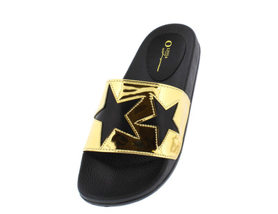 Galaxy Black Pu Star Top Stitched Slide on Flat - Wholesale Fashion Shoes