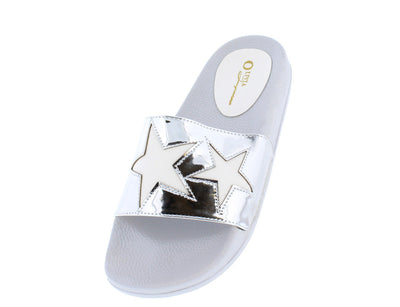 Galaxy White Pu Star Top Stitched Slide on Flat - Wholesale Fashion Shoes