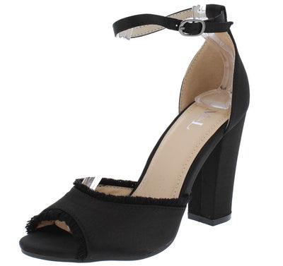 Garden701 Black Satin Frayed Edge Peep Toe Chunky Heel - Wholesale Fashion Shoes