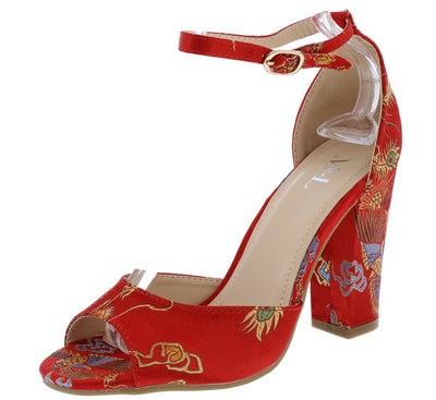 Garden701 Red Flower Print Satin Peep Toe Chunky Heel - Wholesale Fashion Shoes