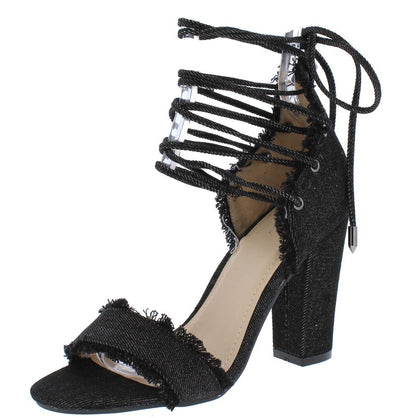 Garden702 Black Frayed Denim Open Toe Lace Up Chunky Heel - Wholesale Fashion Shoes
