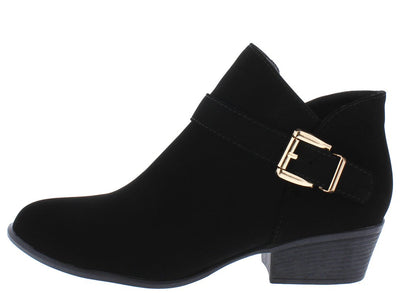 Gary10 Black Side Buckle Stacked Heel Ankle Boot - Wholesale Fashion Shoes